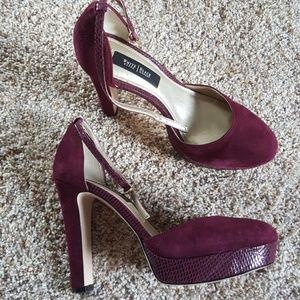 WHBM burgundy suede ankle strap platform heels
